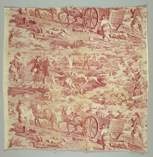 Two scenes arranged horizontally; the first of a cart drawn by two horses carrying four hunters with dogs and three attendants walking alongside; the second of hunters and dogs at work in a marsh and in the fields. In red on white.