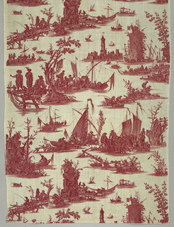 Scenes with boats of various sizes, fishing nets and people. In red on white.