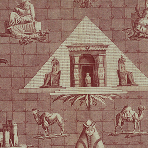 Scenes of Egyptian buildings and obelisks and animals on a background of finely detailed squares. In deep brown/red on white.