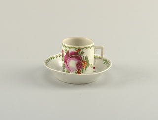"""Cup and Saucer with """"Ostfriesische Rose"""" Pattern Cup And Saucer"""
