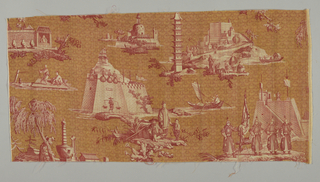 "Small scenes depicting religious and secular architecture in China, many of which are derived from illustrations in ""An Authentic Account of an Embassy from the King of Great Britain to the Emperor of China"" (London, 1797). The fortress at Yangchow (center), and warriors, is based on the drawings of William Alexander. Printed in red with white reserved and a yellow ground."