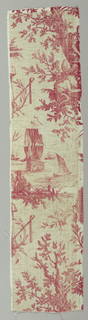 A textile fragment with red printed on white ground showing merchant ships, a cock standing on a lion, and tree branches.