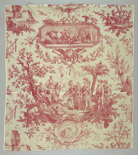 "Textile printed with red on white showing one repeat of a design showing Louis XVI as the ""restaurateur de la liberté ""."