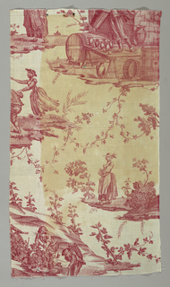 Panel of cotton printed in red showing a design of women harvesting grapes and a man in front of an inn with vessels of wine around him.