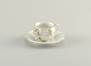 Dodecagonal Cup with Applied Flowers and Saucer Cup And Saucer