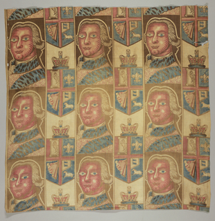Portrait of the English King George III alternates with the English shield and crown. In a straight repeat. Brown, blue, two reds, faded yellow.
