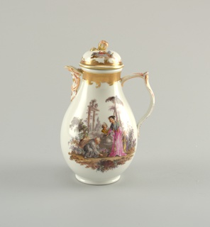 Pear-shaped; bracket lip, double-curved strap handle. Domed cover with flower finial. Vignettes of Chinoiserie figures in landscape, with gilded and painted imbricated borders.