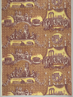 Scenes of Rome printed in purple and yellow. The scenes shown are the Pantheon,  Arch of Constantine, Arch of Titus, dancers in the Form, pipers playing before a shrine of the Virgin, statue of the she-wolf suckling Romulus and Remus. Selvedge to selvedge.