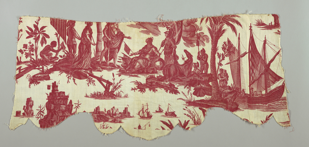 Valance shaped piece showing a crowned seated figure symbolizing France receiving homage from an Indian figure symbolizing America.