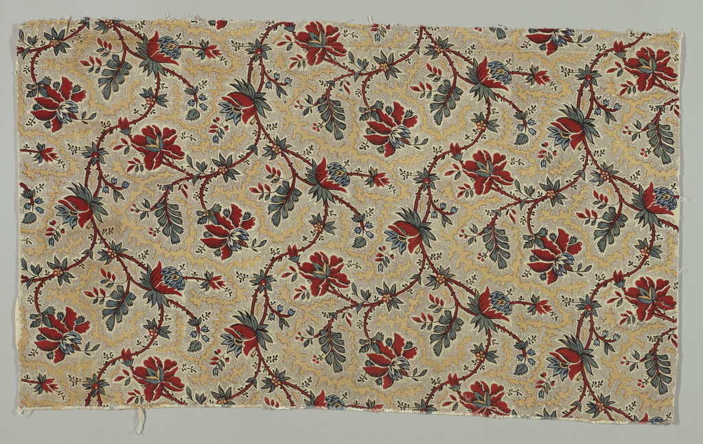 Curving stem with flowers and leaves on a picottage and vermicular background. Black, mustard, red, and  blue.