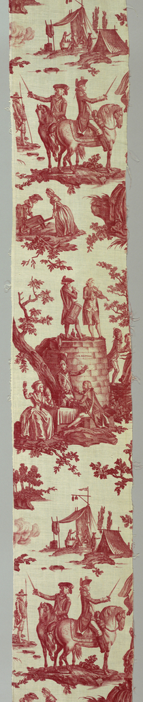 Length of printed cotton with scenes printed in red on white. In one scene, Louis XVI is shown taking the oath of loyalty at the Altar of Liberty while Marie Antoinette and the Dauphin pledge allegiance; Lafayette is in the background. In another scene people are dancing on the ruins of the Bastille. The fabric was designed after the fall of the Bastille (July 14, 1789) but before the beheading of Louis XVI (January 21, 1793) and is regarded as an attempt by Oberkampf to remain on good terms with both the Royalists and the Revolutionaries.
