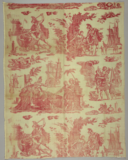 Scenes of people in classical dress illustrating a story from Virgil's Aeneid that inspired two operas in eighteenth-century France.  Aeneas leaves Troy in flames carrying his father Anchises in his arms, Aeneas abandons Dido who then kills herself, and Aeneas kills Turmus. In red on white.