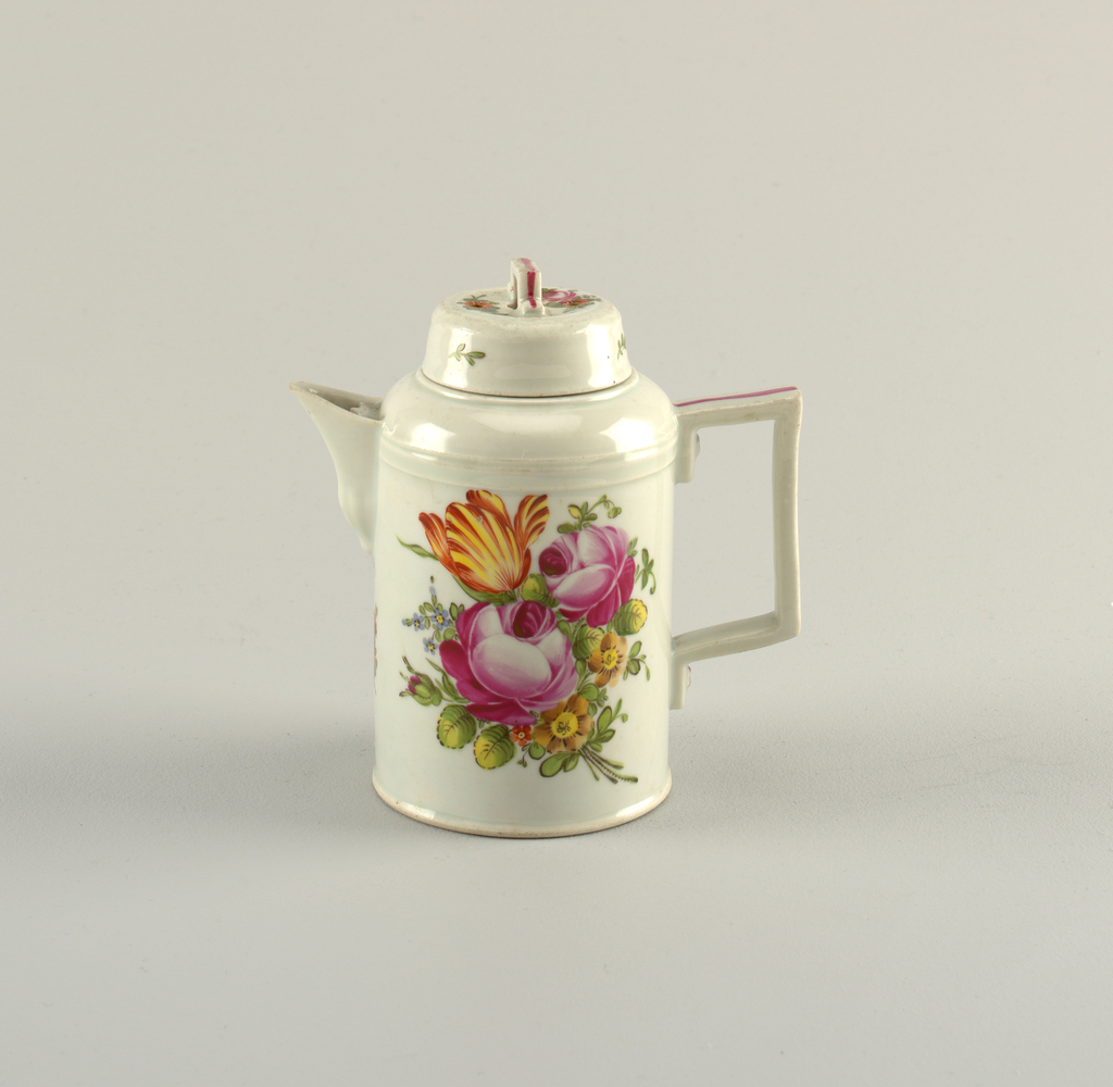 Cylindrical with rounded shoulder; short spout; flat strap handle, rectangular, with simulated screw heads; cover cylindrical, with rectangular strap handle, and pierced with three round openings. Overglaze polychrome decorations of roses and other flowers. Smaller pendant to 1936-13-35.