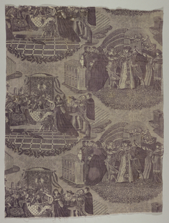 Two scenes of courtiers and the clergy at the court of the English King, Henry VIII. The reference may be to Henry's dispute with the church. In purple on white.