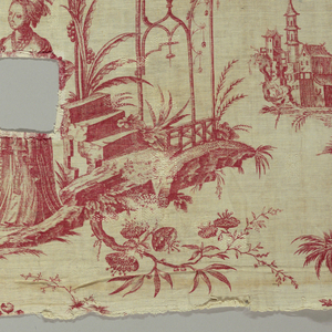 Four chinoiserie scenes; two of children at play, the other two with adults under improbable structures. In red on white.