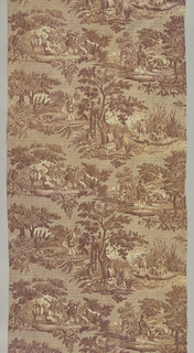 Four scenes, captioned in French, showing different kinds of hunting on a background of scrolls. in brown on white.