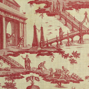 Large tent with exotic figures, a shopping bazaar and a roadway over water. In red on white.