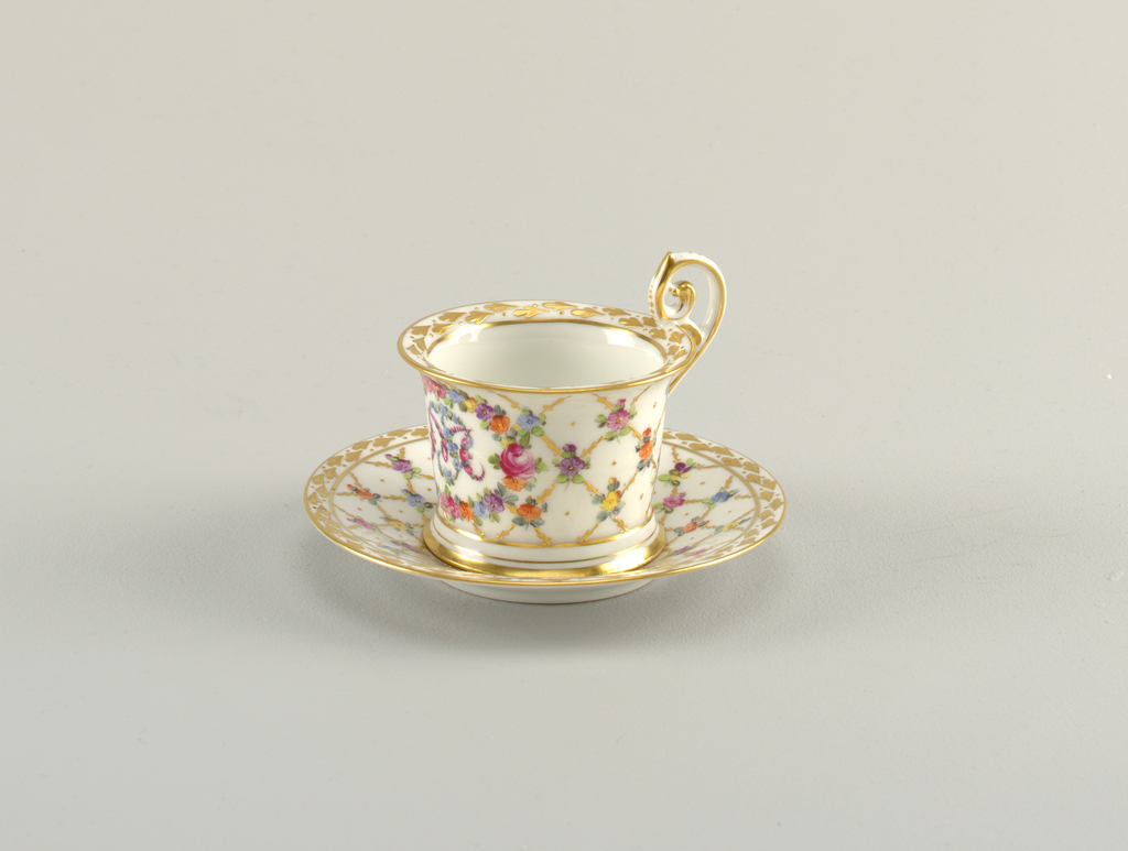 Cup and Saucer with Monogram Cup And Saucer