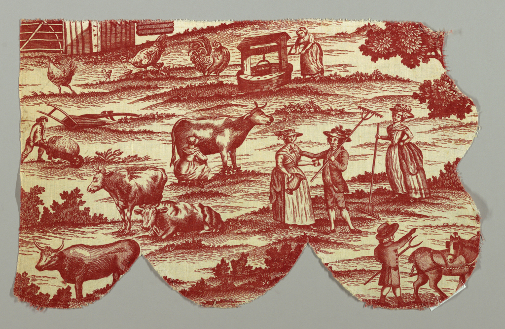 Three fragments which when put together do not give the full height of the repeat.  A double gabled thatched farmhouse house in front of a farmyard, people haying and in the distance a fox hunt.  in red on white.
