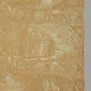Four scenes, captioned in French, relating the four seasons to the four ages of man; infancy, youth, middle age and old age. The scenes are in a lattice of flowers. in yellow ocher on white.
