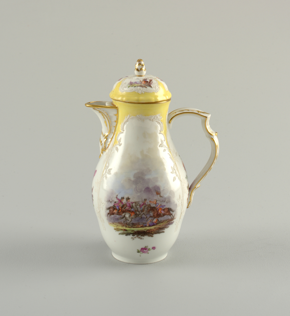 Pear-shaped body, slightly compressed in lower part. Open spout, triple scrolled handle. Domed cover with pine-cone knob. Unglazed relief lines, forming four compartments. The area between these, and the edge are painted yellow. Polychrome overglaze battle scene, equestrian scene, and flower clusters alternating in panels on pot and cover. Gold edge and scents on spout, handle and knob.