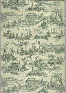 1936 reproduction of a French design of 1783 drawn by Jean Baptiste Huet and printed by the Oberkampf factory at Jouy and showing fifteen processes in the manufacture of printed cottons. Printed in green on off-white.