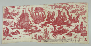 Design in red on white. Several scenes including dancing couple, rural inn and boys bowling.