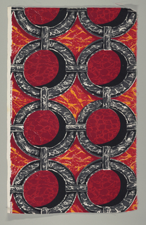 Marbelized circled with shadows in 2 reds, orange, black, grey and white. Same pattern as 2000-10-6 but in a different colorway and on a different foundation fabric.