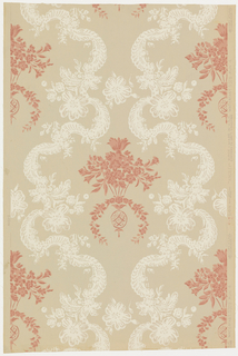"Inspired by French 18th century, Louis XV period. Simulates textile design of festooned bands of lace, caught with floral bouquets forming medallions which contain a bouquet of flowers suspended from a spray of leaves. This design was reproduced from paper found in old colonial house near Philadelphia, Pennsylvania. Printed on reverse side: ""No. 250 CB, French Damask"". Printed in rose ivory and tan on putty field."