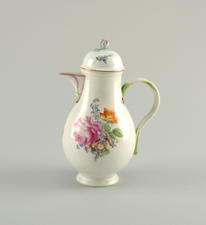 Pear-shaped, rib handle, funnel-spout. Domed cover with floral knob. Painted in colors with naturalistic flowers. Spout and handle touched with purple and green. Brown rim on lid. Rounded stepped foot.