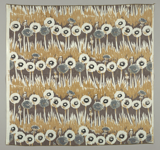 Design in broad impressionistic brush-strokes of horizontal rows of life-sized seeding dandelions  against a grassy ground, printed in black, grays, and tan on a white ground.
