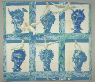 Marbelized heads with birds on them in a grid in 3 blues, 2 greys, lavender, green and white. One unit of repeat present.