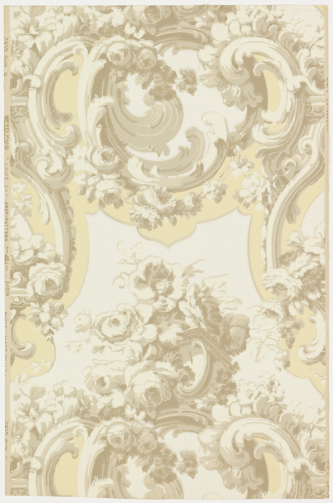 """This design is composed of bunches and sprays of roses entwined about rococo scrolls edged with acanthus leaves. It is reminiscent of the Louis XV period (1723-77). The orginal, from which this is a reproduction, was imported from France to Quebec over 100 years ago and was used in one of the oldest houses of that city. Printed on reverse side: """"No 322CB"""". Printed in margin: """"Louis XV - drop pattern - Birge Made in U.S.A. #2935"""". Not printed in original colors."""