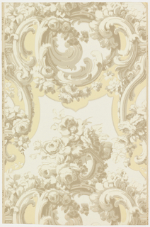 "This design is composed of bunches and sprays of roses entwined about rococo scrolls edged with acanthus leaves. It is reminiscent of the Louis XV period (1723-77). The orginal, from which this is a reproduction, was imported from France to Quebec over 100 years ago and was used in one of the oldest houses of that city. Printed on reverse side: ""No 322CB"". Printed in margin: ""Louis XV - drop pattern - Birge Made in U.S.A. #2935"". Not printed in original colors."