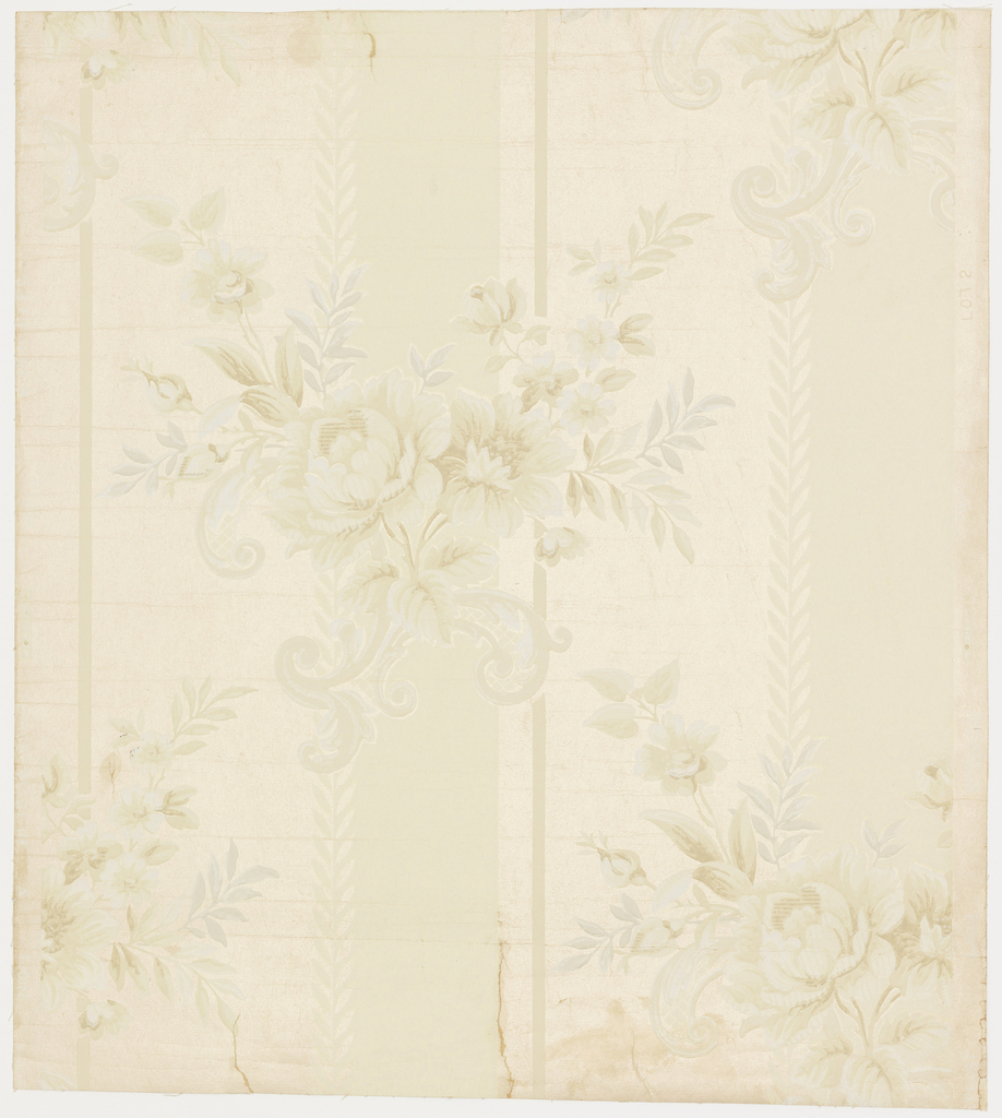 """A spray of roses with Rococo scrolls behind it is arranged in diagonal rows. Background is printed in wide vertical bands alternating with plain and satin finish field. Top left side of each band has a leaf border. Entire paper is embossed with fine horizontal lines. Printed in selvedge: """"Waterfast, 5375 Run 8, Birge, Made in U.S.A."""""""