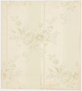 "A spray of roses with Rococo scrolls behind it is arranged in diagonal rows. Background is printed in wide vertical bands alternating with plain and satin finish field. Top left side of each band has a leaf border. Entire paper is embossed with fine horizontal lines. Printed in selvedge: ""Waterfast, 5375 Run 8, Birge, Made in U.S.A."""