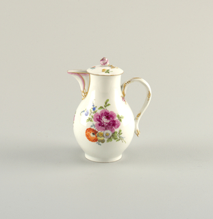 Pear-shaped, rib handle, funnel-spout. Domed cover with floral knob. Painted in colors with naturalistic flowers. Spout and handle touched with purple and green. Brown rim on lid. Rounded foot.