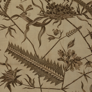 Straight repeat filling the full width of the plate. Angular monochrome pattern of stalk-like plants with flowers and leaves sheltering two exotic birds and insects. Several leaves are very long fern-like botanical composites.