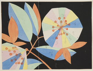Graphic, abstract multicolored blossoms and leaves on a thin orange branch on black ground. Numbers throughout in graphite.