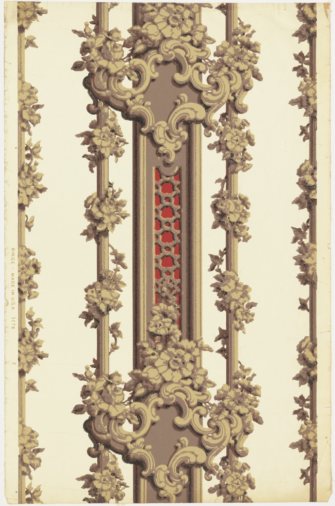 Full width with one and one-half repeat. Central pilaster with openwork against red ground; Rococo cartouches above and below crowned with flower spray. To either side, one and half of another vertical rod entwined with floral chain.  Printed in red, browns and black on glazed cream paper.