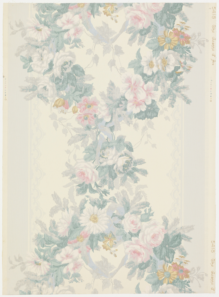 "Design is inspired from a shadow silk textile which it simulates. Ribbon loop has suspended from it a graceful festoon of roses and various flowers. At the sides on vertical gray stripes with a lace-like design on edges. This wallpaper is printed in fine strie lines. Original paper was made in France and used in Natches, Mississippi. It was reproduced by Whittridge and Barrows for Strahan. Printed on margin: ""5418 The Jeanne D'Arc""."