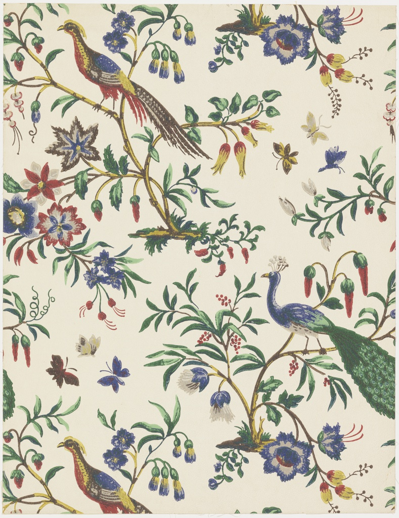 "Alternating rows of pheasants and peacocks, each bird perched on bough of a small tree. Each tree has a variety of different colored flowers. Butterflies are flying about. A reproduction of an English paper over 100 years old which was used in the Governor Gore Mansion at Waltham, Massachusetts. Printed on reverse side: ""Birge Waterfast Glaze-tek, Governor Gore sidewall 3178 D""."