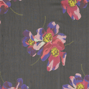 Black ground with a group of three large scale wild roses in cerise, purple, pink, yellow and green in offset repeat. Both selvedges present.