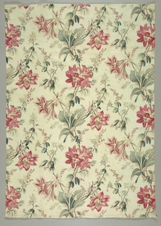 Big bunches of lilies and orchids carefully drawn with much lindear detail in pinks, greens, yellow (now faded), in vague serpentine layout of off-white ground. Two plain cloth selvages.