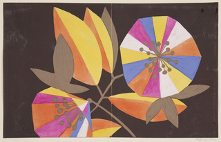 Graphic, abstract multicolored blossoms and leaves on a thin brown branch on dark brown ground.