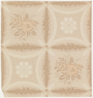 Design of squares (formed by vines) enclosing alternately a bunch of roses and a lozenge shaped ornament formed by curving leaf stems surrounding leaves and flowers. Printed in orange, brown, and white on tan ground.