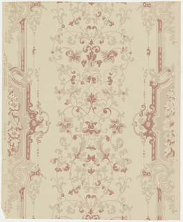 "Axial design of delicate interlacing floral scrolls. On either side is a paneled border with flowers in panels. Between panels and on their outer edges are more scrolls. Reproduction of a paper found near Deerfield, Massachusetts. Printed in margin: ""Strahan Made in U.S.A., 7302"". Printed in dark tan and henna on light tan field."