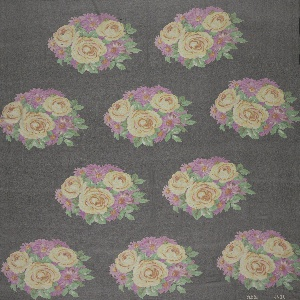 Three samples, each with a different color scheme. Staggered horizontal repeat of round mass of yellow and pink roses and asters on a black ground. Both selvedges present on all samples.