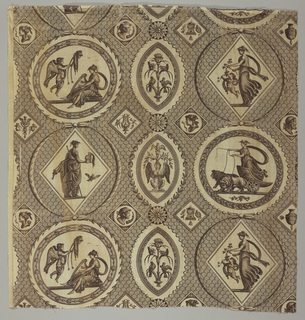 Brown and white toile with an imbricated ground has a series of medallions in a variety of shapes, each filled with classically-draped figures, putti, sphinxes, and animals.