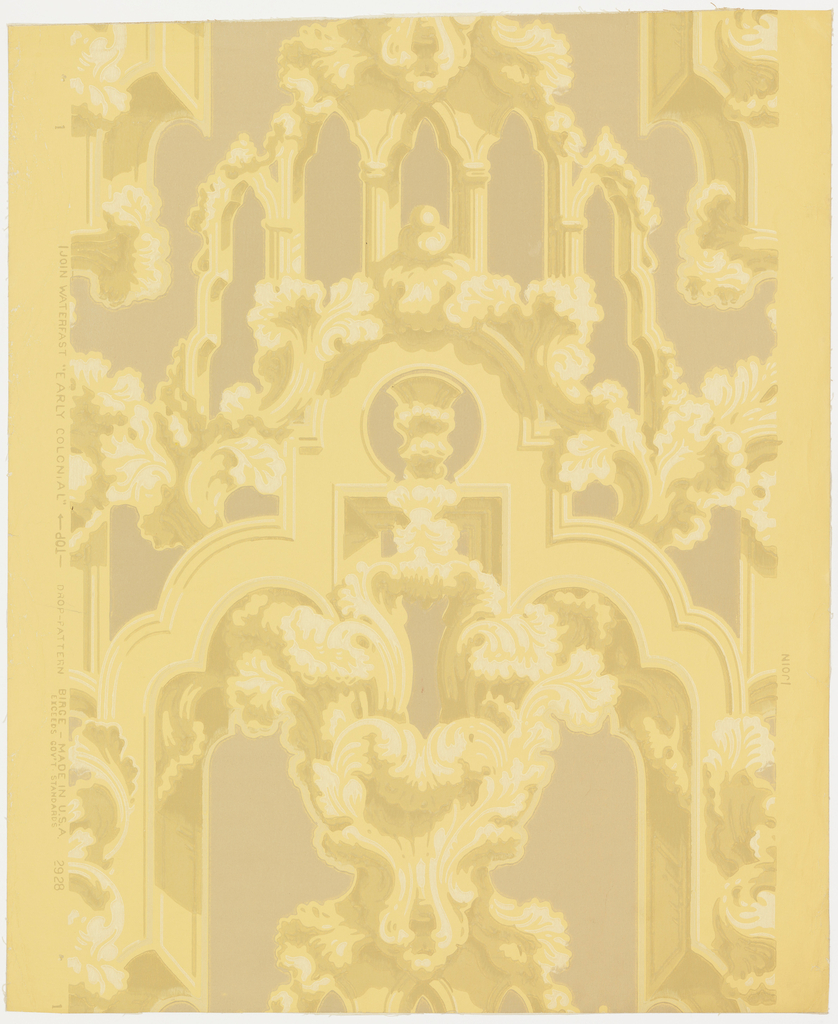 "An excellent speciman of early 19th century design. A free rendering of decorative ornamental Gothic combined with profuse acanthus leaf scrolls. A reproduction of an old paper printed prior to 1857 which was the date it was hung on the walls of the entry of Mr. Holbrook's house, corner of Elm and Charter Streets, Salem, Massachusetts. Printed on reverse: ""Birge, waterfast, glaze-tek, sidewall 2928 B"". Printed in ivory, gold, and bronze on tan field. Not original colors."